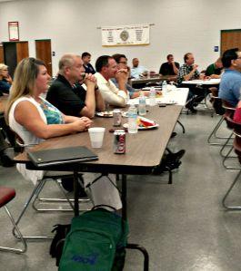 Union members listen to AFL-CIO President Ron Bieber speak